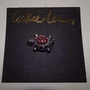 Cookie Lee Small Rhinestone Turtle Brooch Pin